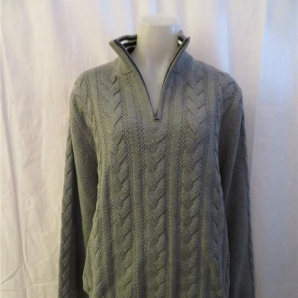NWT NAUTICA GRAY CABLE KNIT 34 ZIP TOP L NWT